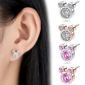 Four Pairs of Mickey Stud Earrings